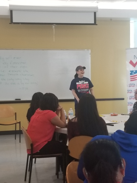 State Representative Ana Hernandez, formerly undocumented, speaks as to different ways to help out during election season.